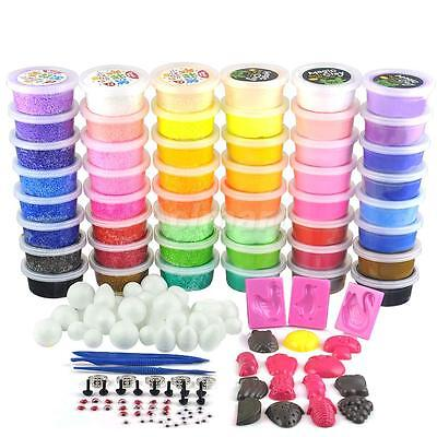 PACK OF 48 Soft Clay Foam Clay Modelling Play Dough Art Craft DIY Tools Set