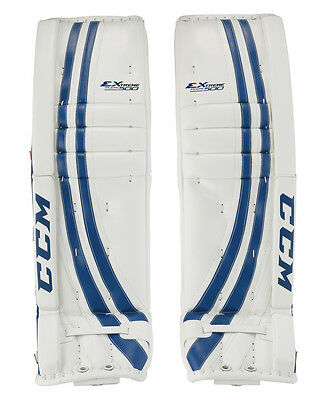 CCM Extreme Flex ice hockey goalie leg pads senior 36+2 white blue new goal