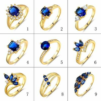 Blue Sapphire White Topaz Women's Wedding Rings 24K Yellow Gold Filled Size 5-9