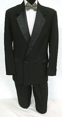 Black Double Breasted Satin Notch Lapel Tuxedo Jacket Wedding Prom Mason Cruise