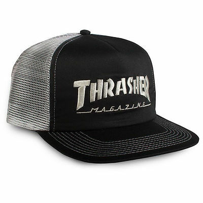 New THRASHER Skateboard Magazine Embroidered Logo Mesh Trucker Hat (Black/Grey)