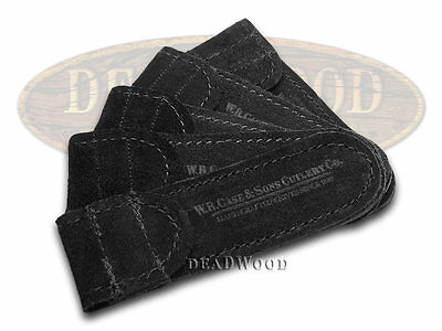 CASE XX 5-Pack Medium Black Suede Leather Pouches for Pocket Knives