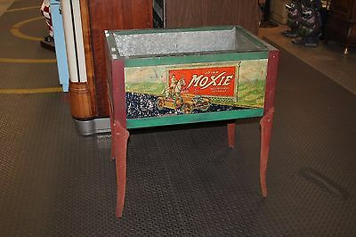 Hard to Find Early 1930s Original Moxie Soda Tin Litho Ice Chest Cooler