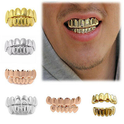 Cool Top Bottom Grill Set Silver/Gold Plated Custom Grillz Teeth Hip Hop Mouth