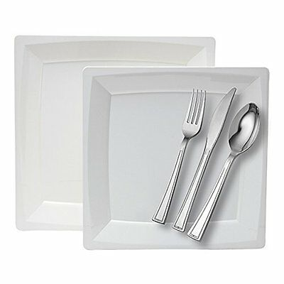 WNA Milan 40 Count Dinner for 8 Combo Set Plates and Cutlery, White