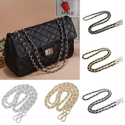 Metal + Leather Bag Chain Strap Replacement for Purse Handbag Shoulder Bag 120cm