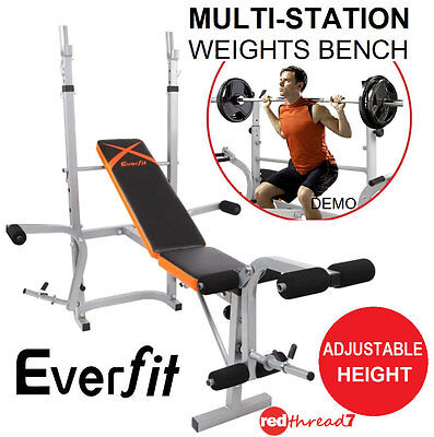 Adjustable Home Gym Multi-Station Weights Bench Weight Lifting Fitness Exercise