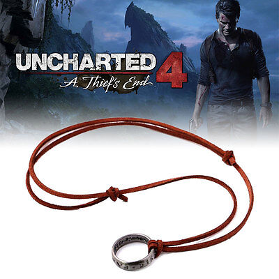 Cosplay Uncharted 4 Drake's Ring Pendant Chain Necklace Anime Game Super Cool