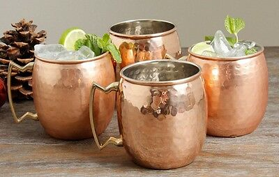 4-Pack Jumbo Moscow Mule Mug (24oz) 100% Pure Solid Hammered Copper - Set of 4