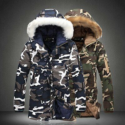 Men Warm Down Cotton Jacket Fur Collar Thick Winter Hooded Coat Outwear Parka A
