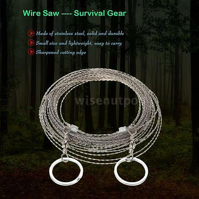 Hiking Camping Stainless Steel Wire Saw Emergency Travel Survival Gear W7Q3