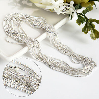 wholesale 925 solid Silver lots 5pcs 1mm snake chain Necklace 16-30inch Lady