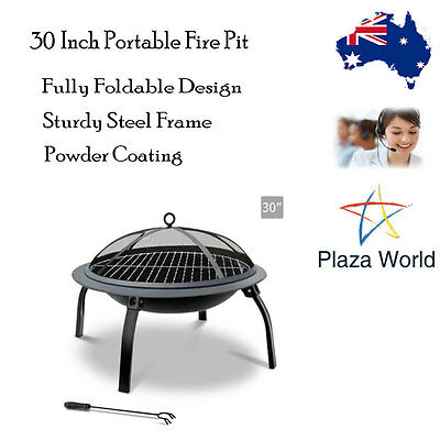 "30"" Portable Round Fire Pit BBQ Folding Outdoor Camping Garden Patio Heater"