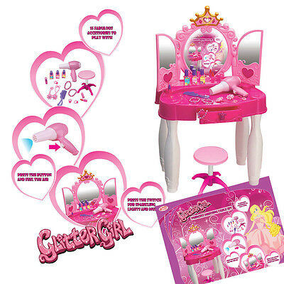 Kids Toy Glamour Dressing Table with Light Sound Girls Vanity Role Play Fun Xmas