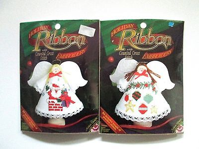 2 Angel CLOTHES PIN DOLL Christmas Ornament Kit Ribbon Embroidery Cross Stitch