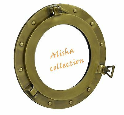 "15 "" Porthole Window Aluminum Brush Finish Ship Cabin Porthole Nautical Decored"