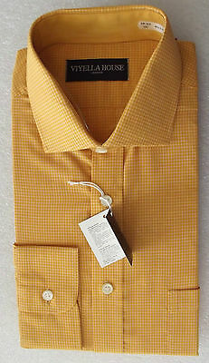 Vintage 1970s VIYELLA check shirt UNUSED for button/ cuff links Collar 15.5 mens