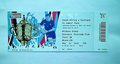 RUGBY WORLD CUP MEMORABILIA - Ticket Scotland v South Africa 03/10/2015 # 1 Blue