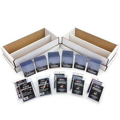 BCW TRADING CARD COMBO PACK w/ Toploaders, Magnetic Holders, Shoeboxes & Sleeves