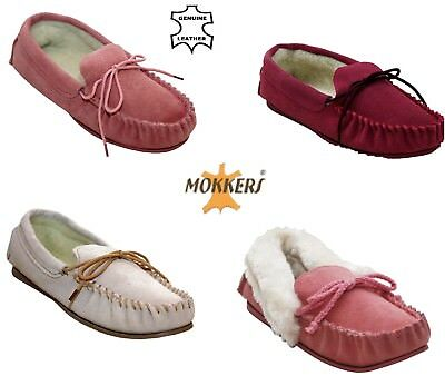 Ladies Womens Real Leather Moccasins Flat Fur Lined Warm Cosy Slippers Shoes 3-8