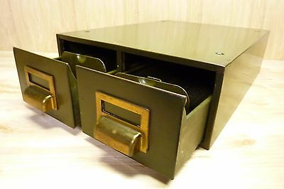 Vintage Industrial 2 Drawer Steel File Cabinet Heavy Duty Green Brass Wsh Handle