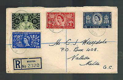 1953 England First Day Cover Queen Elizabeth 2 coronation FDC to Malta