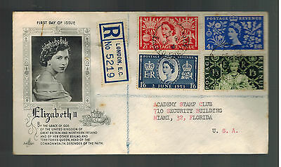 1953 England First Day Cover Queen Elizabeth 2 coronation FDC to USA QE2 FDC