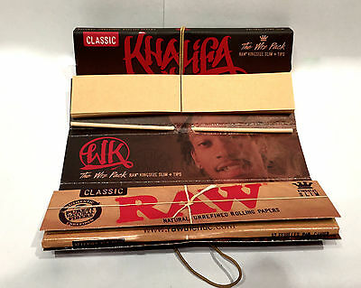 1pk New WIZ KHALIFA Raw King Size Slim Rolling Papers & Tips Limited Edition