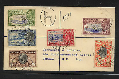 Cayman Islands 85-90 on clean neat registered cover 1938                AT0604