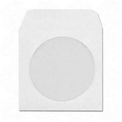 100pcs 5inch CD DVD Disc Paper Sleeves Envelopes Storage Clear Window Case Flap