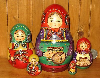 Russian nesting doll 5 HAND PAINTED TRADITIONAL Martryoshka RYABOVA