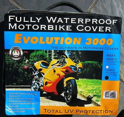 MOTORCYCLE BIKE COVER WATERPROOF UV PROTECTION NEW! LARGE fits up to 1300cc