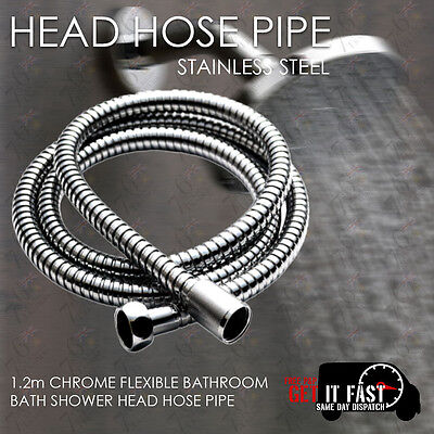 Chrome Shower Bath Hose Flexible Stainless Steel Replacement Pipe New 1.2M Metre
