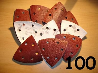 100 - 90mm Triangle - MIXED GRIT Mouse Palm Sander Sheets Sanding Pad Velcro