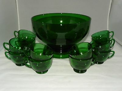 14 Piece Anchor Hocking Forest Green Punch Bowl Set