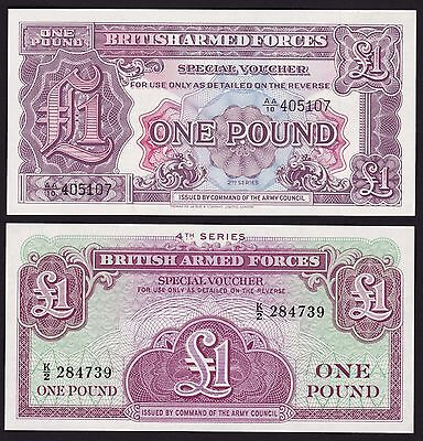 British Armed Forces One Pound Special Vouchers 2nd & 4th Series UNC