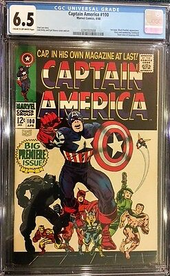 CAPTAIN AMERIA #100 CGC 6.5 FN+ 1968 1st Issue Like #1 BLACK PANTHER APPEARANCE