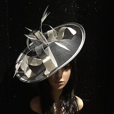 Grey Ivory Wedding Ascot Occasion Disc Hatinator Hat Mother Of The Bride
