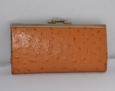 Vintage Tan Brown Ostrich Leather Framed Purse Wallet Silver T Exc Cond