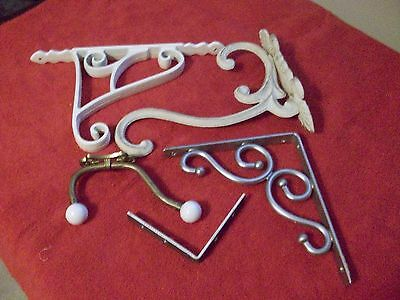 Vintage Metal Wall Hangers And Shelf Brackets.  Group Of 5