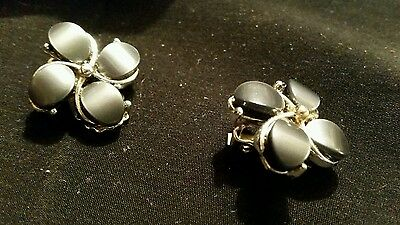 Vintage Grey Flowered Satin Finish Clip On Gold Tone Earrings