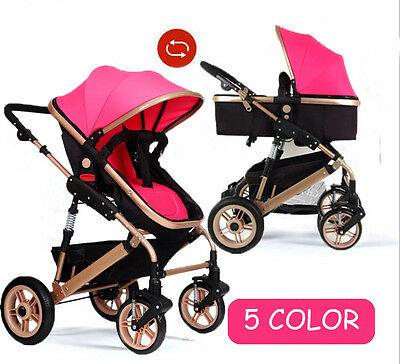New Baby Stroller Foldable Pushchair Toddler Carriage Reversible Pram Buggy