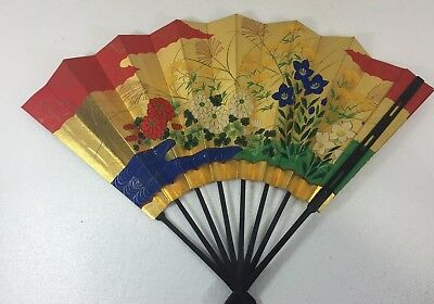 Japan Folding Fan Gold Background w Pink Red Flowers Vintage Antique