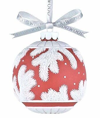 Wedgwood Pine Cone Red Ball Christmas Ornament White Raised Relief NEW Rare!