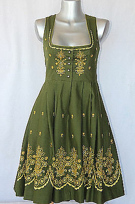 SALZBURGER Vintage GREEN Austrian DIRNDL Floral Embroidery & Silver Buttons S