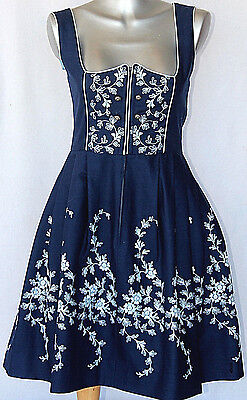 HANCKE Vintage Authentic Austrian DIRNDL Blue with Embroidery & Silver Buttons S