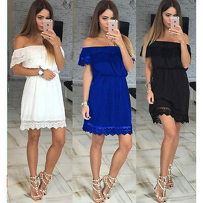 New Women Casual Summer Lace Chiffon Dress Short sleeves off shoulder Plus Size