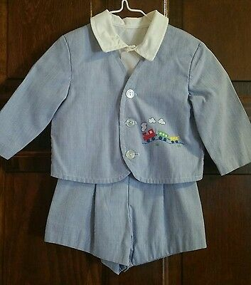 Vintage 3pc Boys Shorts w/ suspenders, Jacket, Shirt Outfit 12 Months