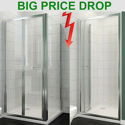 Bifold Shower Enclosure Cubicle Door Tray Glass Screen Side Panel Free Waste