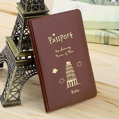 1pc Passport Holder Travel Wallet Cover Case Protector Organizer Pu Leather Bag